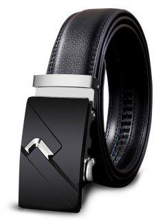 Metal Auto Buckle Decorated Faux Leathr Belt - Silver 110cm