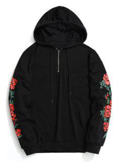 Floral Half Zipper Hoodie Men Clothes - Black L