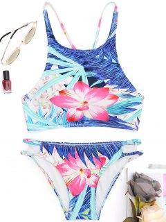 Ausgeschnittener High Neck Floral Bikini - Blumen S