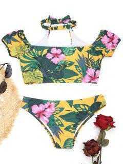Halfter Blumen Scrunch Hintern Bikini Set - Blumen S