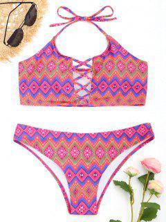 Halter Argyle Print Crisscross Bikini Set - L