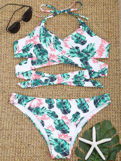 Halter Leaf Print Wrap Bikini Swimwear - Green L