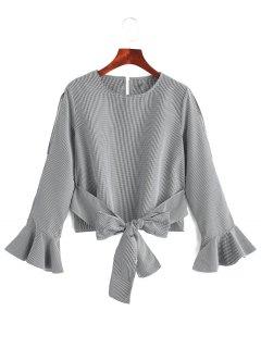 Bell Sleeve Cuff Back Tied Striped Blouse - Stripe L