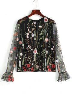 See Through Floral Embroidered Tulle Top - Black Xl