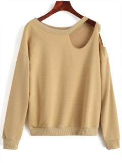 Casual Cut Out Sweatshirt - Camel S