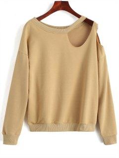 Casual Cut Out Sweatshirt - Camel L