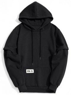Terry Kangaroo Pocket Hoodie Men Clothes - Black L