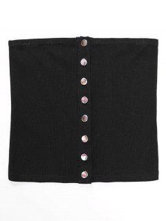 Knitted Snap Button Tube Top - Black S