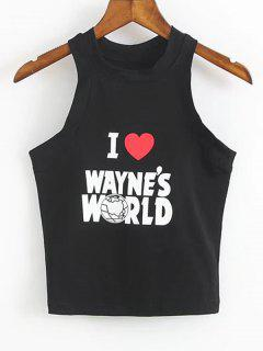 Cotton Letter Logo Tank Top - Black S