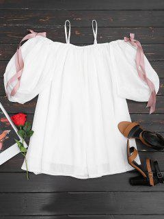 Cold Shoulder Bowknot Mini Cami Dress - White L