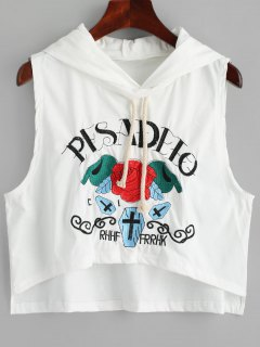 High Low Embroidered Sleeveless Hoodie - White