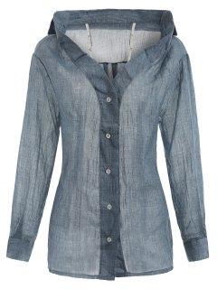 Button Up Cold Schulteroberteil - Blaugrau