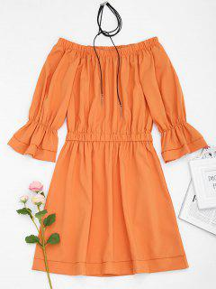 Off Shoulder Flare Sleeve A Line Dress - Orange L