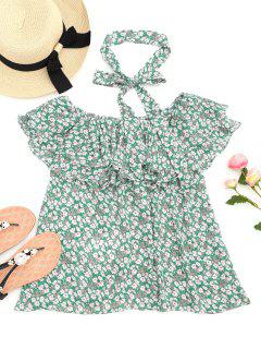 Floral Tiered Ruffles Off Shoulder Blouse - Green