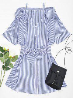 Schulterfreies Gestreiftes Gürtel Cami-Kleid  - Blau L