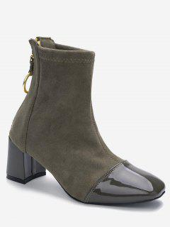 Block Heel Squared Toe Ankle Boots - Army Green 39