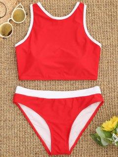 Bikini Deportivo Con Cuello Alto Y Ribete En Contraste - Rojo L