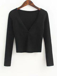 V Neck Knitted Ribbed Top - Black S