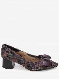 Pointed Toe Bowknot Plaid Pumps - Wine Red 39