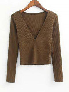 V Neck Knitted Ribbed Top - Brown M
