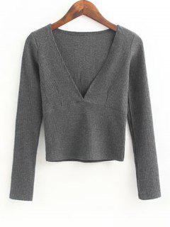 V Neck Knitted Ribbed Top - Deep Gray M
