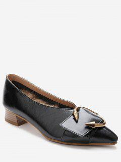 Toe Buckle Faux Wood Heel Pumps - Black 36