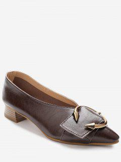 Toe Buckle Faux Wood Heel Pumps - Deep Brown 36
