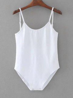 Sleeveless Open Back Swim Bodysuit - White