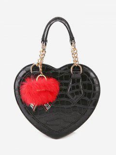 Embossing Heart Shaped Pompom Handbag - Black