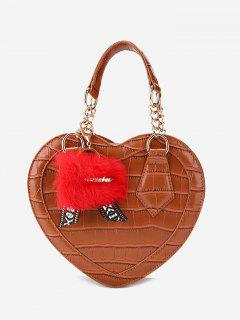 Embossing Heart Shaped Pompom Handbag - Brown