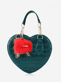 Embossing Heart Shaped Pompom Handbag - Green