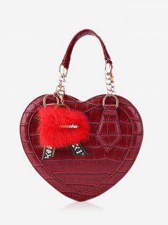 Embossing Heart Shaped Pompom Handbag - Red