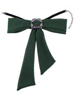 Rhinestone Decorated Bowknot Fake Collar Necklace - Green