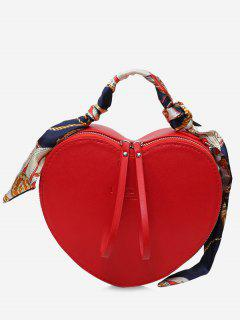 Scarf Heart Shaped PU Leather Handbag - Red