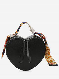 Scarf Heart Shaped PU Leather Handbag - Black