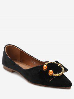 Embelished Buckled Pointed Toe Flats - Black 35