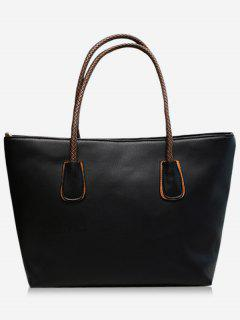 PU Leather Braid Double Handles Shoulder Bag - Black