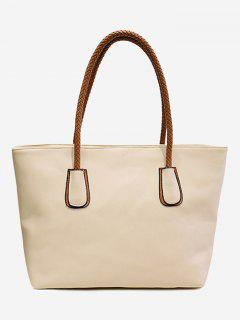 PU Leather Braid Double Handles Shoulder Bag - White