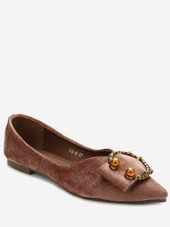 Embelished Buckled Pointed Toe Flats - Pink 36