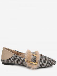Houndstooth Faux Fur Trim Flats - Khaki 38