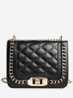 Chain Quilted Twist Lock Crossbody Bag - Black Horizontal