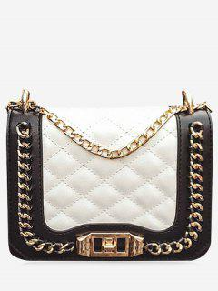 Chain Quilted Twist Lock Crossbody Bag - White Horizontal