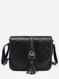 Quilted Tassel Crossbody Bag - Black