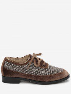 Round Toe Houndstooth Flat Shoes - Deep Brown 39