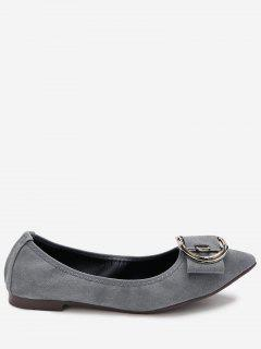 Pointed Toe Buckled Flats - Gray 36