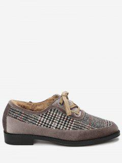 Round Toe Houndstooth Flat Shoes - Camel 39