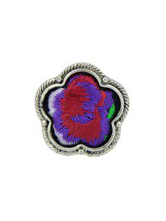 Flower Embroidery Decorated Ring - Purple One-size