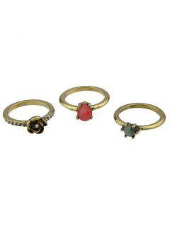 Faux Gem And Crystal Embellished Rings Set - Golden One-size