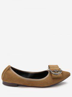 Pointed Toe Buckled Flats - Light Brown 36