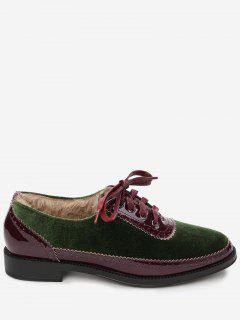 Color Block Velvet Casual Shoes - Green 38